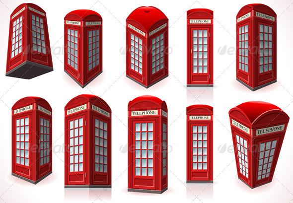 GraphicRiver Set of English Red Telephone Cabins 5992186