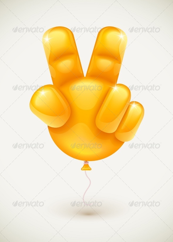 GraphicRiver Balloon Hand Showing Victory Symbol 5993345