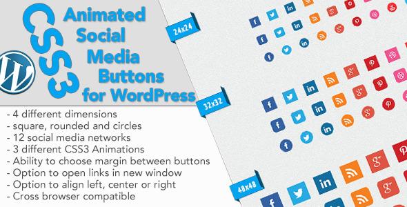 CodeCanyon CSS3 Animated Social Buttons Wordpress Widget 5970810