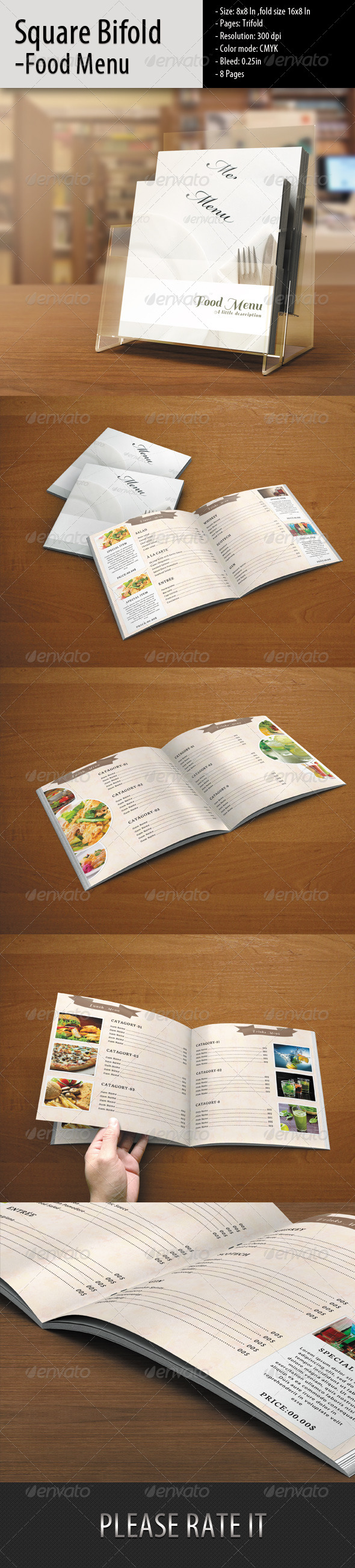 Square Bifold-Simple Food Menu