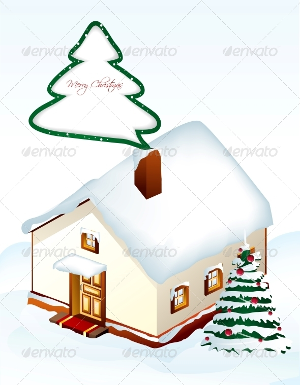 GraphicRiver Gingerbread House with Tree Vector 5993758