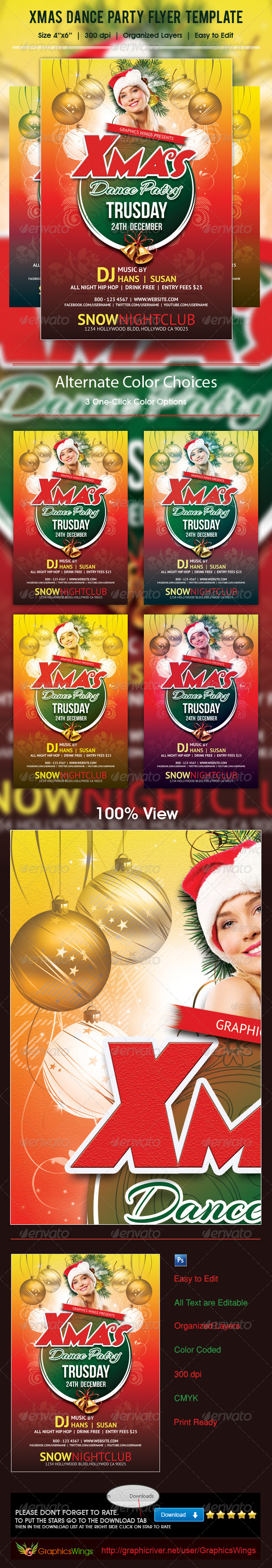 GraphicRiver Xmas Dance Party Flyer Template 5993772