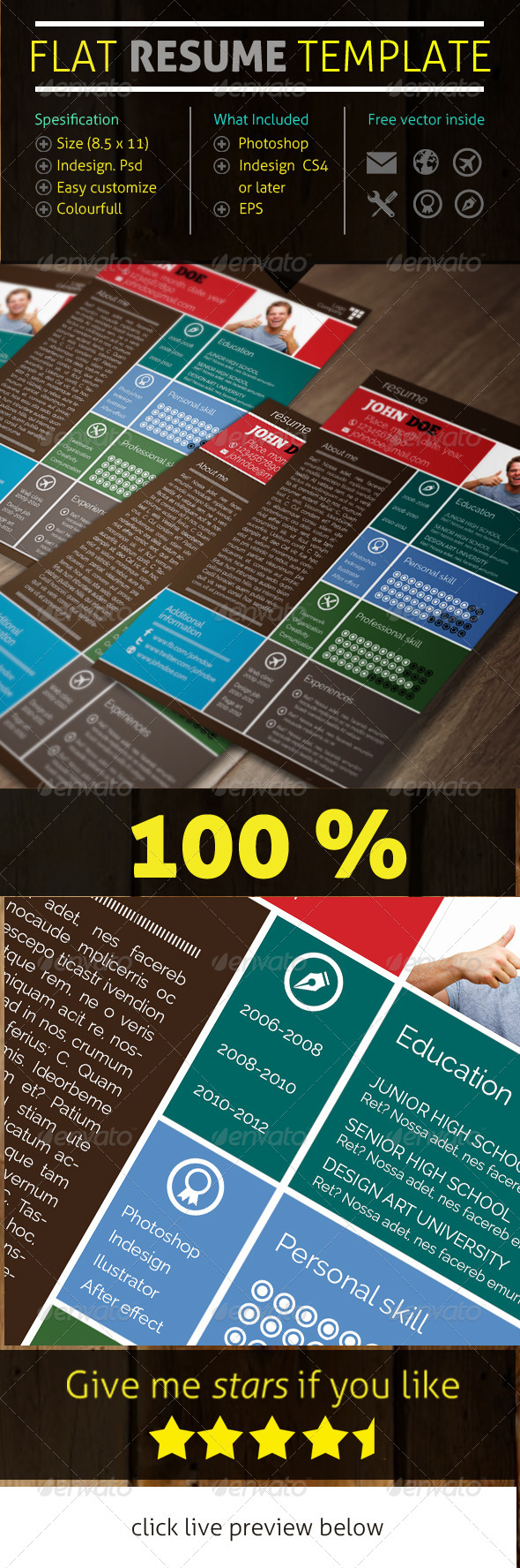 GraphicRiver Flat Resume Template 5993773