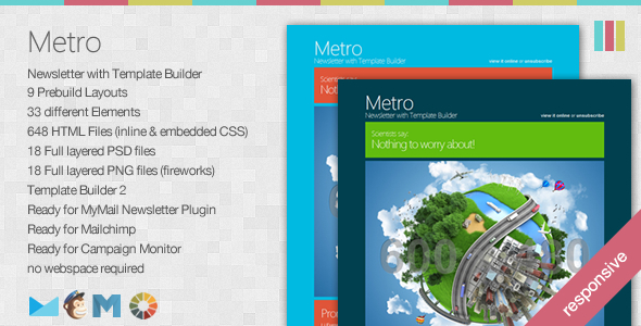 Metro - Responsive Newsletter with Template Builder  - Newsletters Email Templates