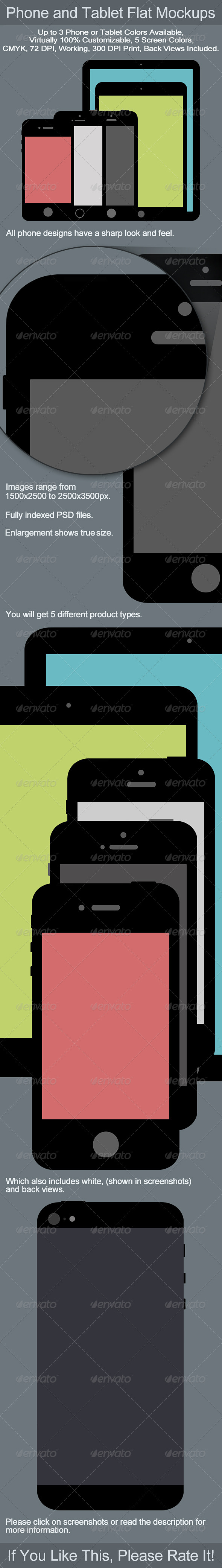 Phone and Tablet Flat Mockups