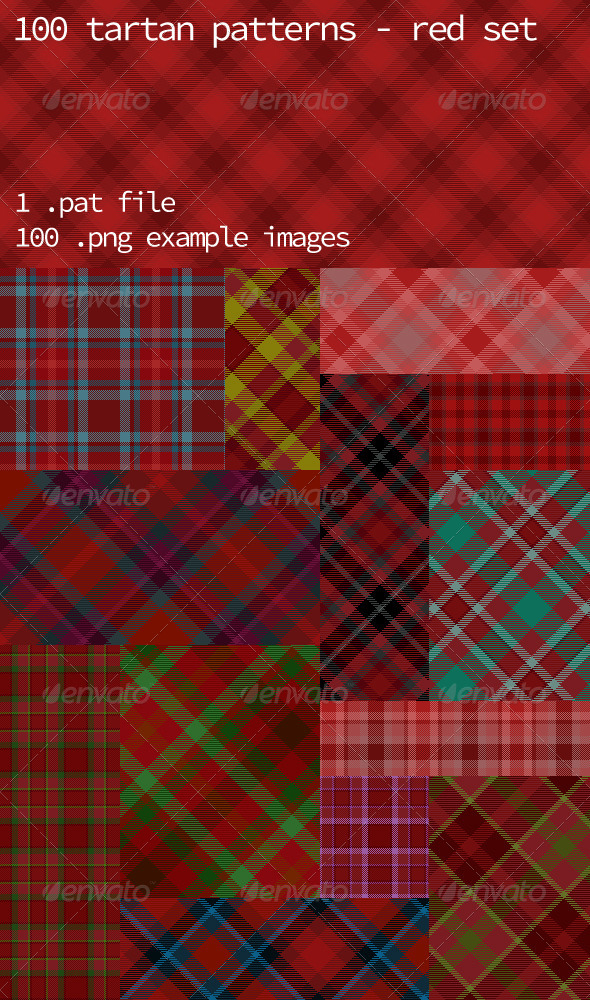 GraphicRiver Tartan Pattern Collection Red set 5993963