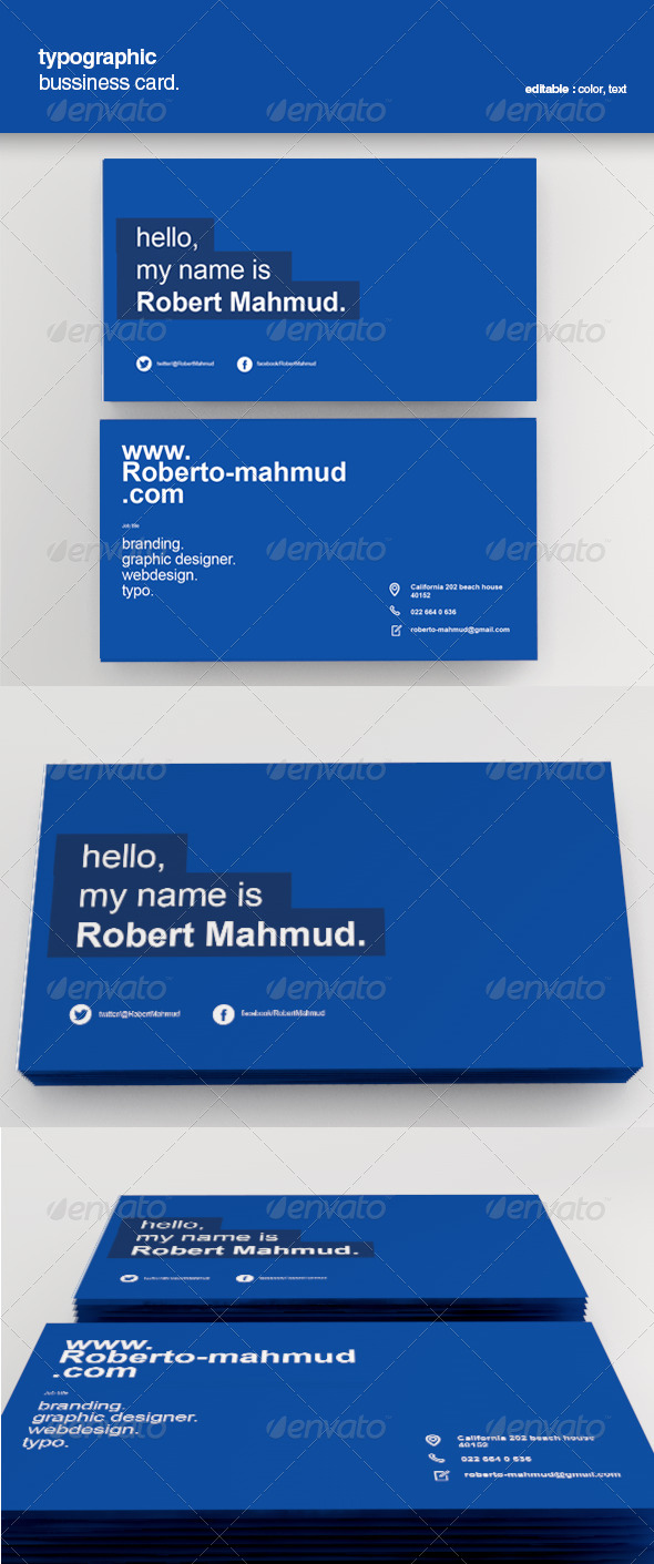 Simple Typographic Business Card