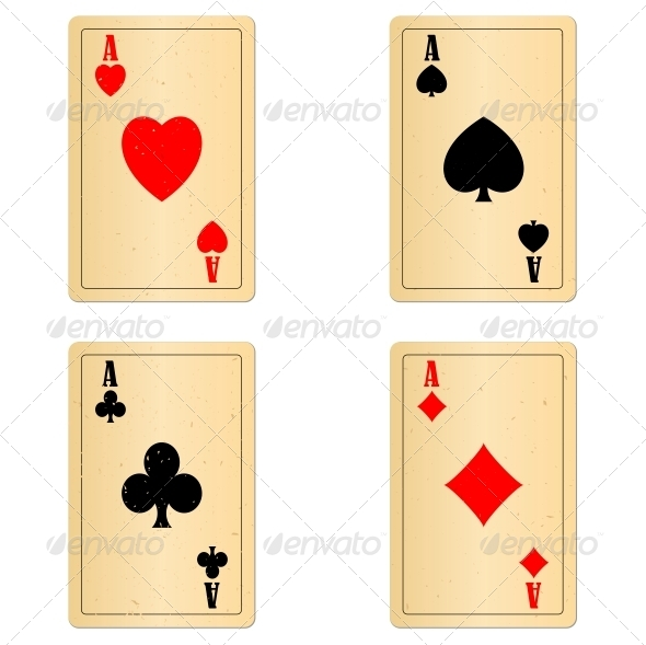 GraphicRiver Blank Old Play Cards Four Aces 5994100
