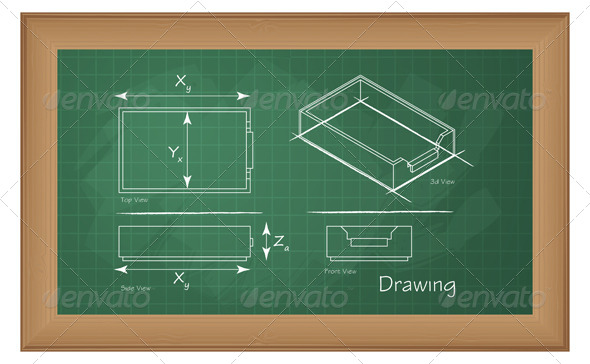 GraphicRiver Technical Drawing on Green Board Illustration 5994386