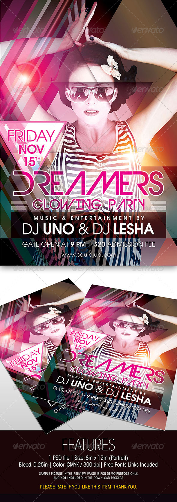 GraphicRiver Dreamers Glowing Party Flyer 5994680