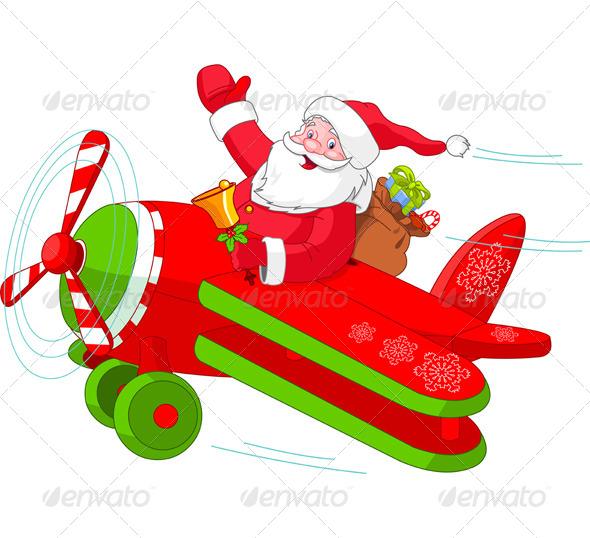GraphicRiver Santa Flying his Christmas Plane 5995541