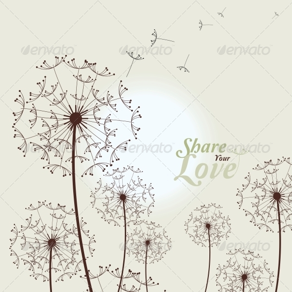 GraphicRiver Love Card with Dandelions 5995602