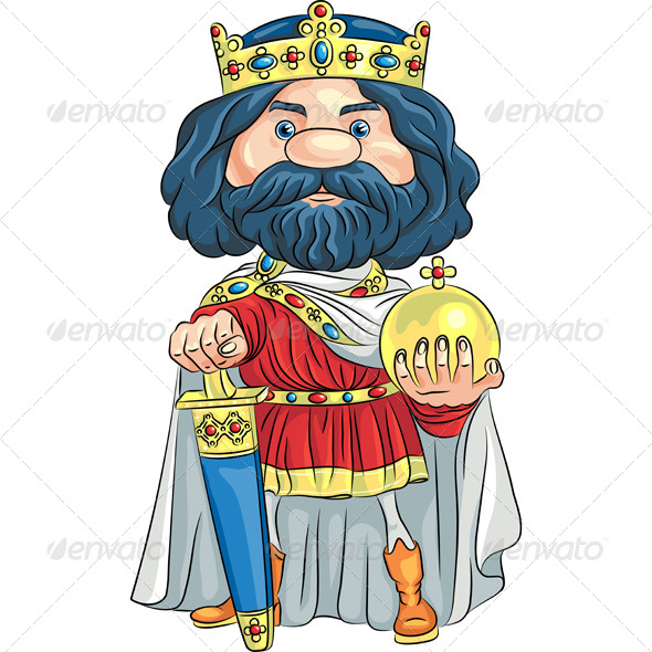 GraphicRiver Vector Cartoon King with a Golden Crown 5995697