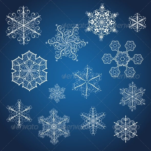 GraphicRiver Set of Snowflakes 5996045