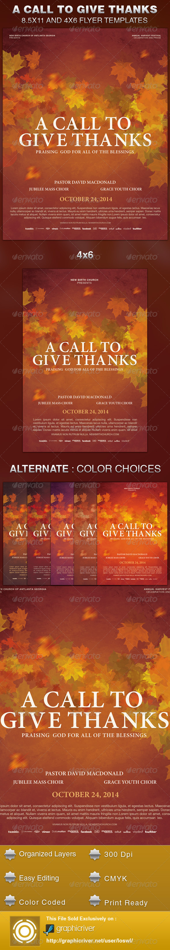 GraphicRiver A Call to Give Thanks Church Flyer Template 5996345