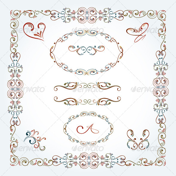 GraphicRiver Arabesque Scroll Frames and Elements 5996404