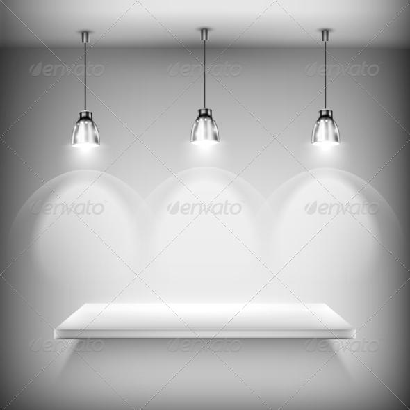 GraphicRiver White Empty Shelf Illuminated by Spotlights 5996639