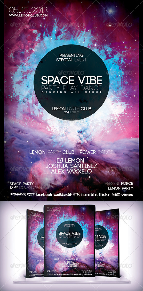Space Vibe Flyer - Clubs & Parties Events