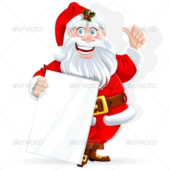 GraphicRiver Santa Claus Holds Banner for Text 5997346