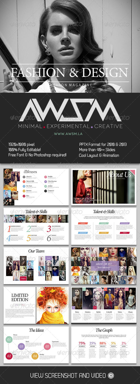 GraphicRiver Fashionista PowerPoint Presentation 5997515
