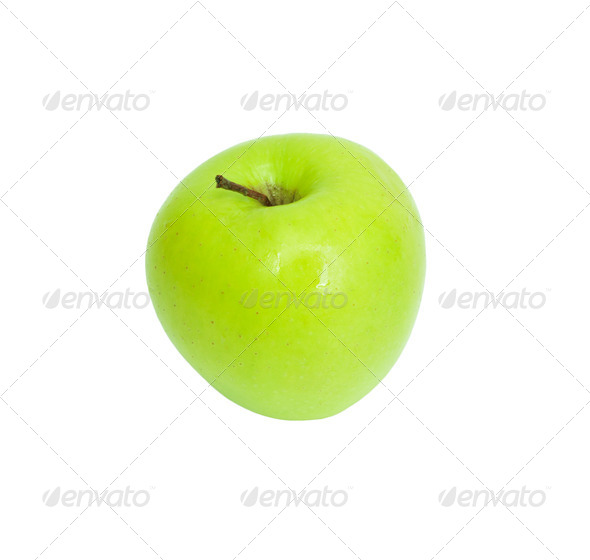 A ripe green apple. Isolated on white - Stock Photo - Images