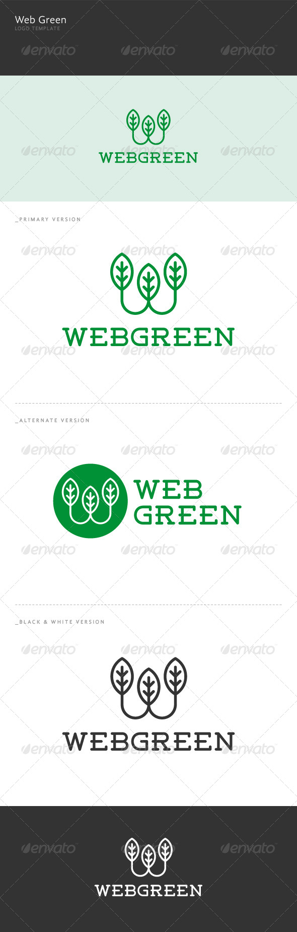 GraphicRiver Web Green W Letter Logo 5997725