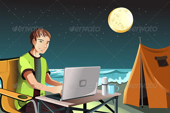 GraphicRiver Man Camping using Laptop 5997824