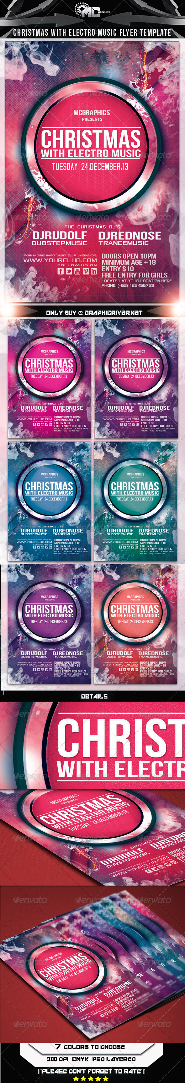 GraphicRiver Christmas With Electro Music Flyer Template 5997931