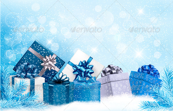 GraphicRiver Christmas Blue Background with Gift Boxes and Snow 5997936