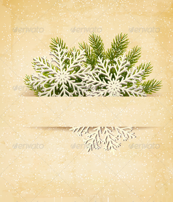 GraphicRiver Christmas Retro Background with Tree Branches 5997938