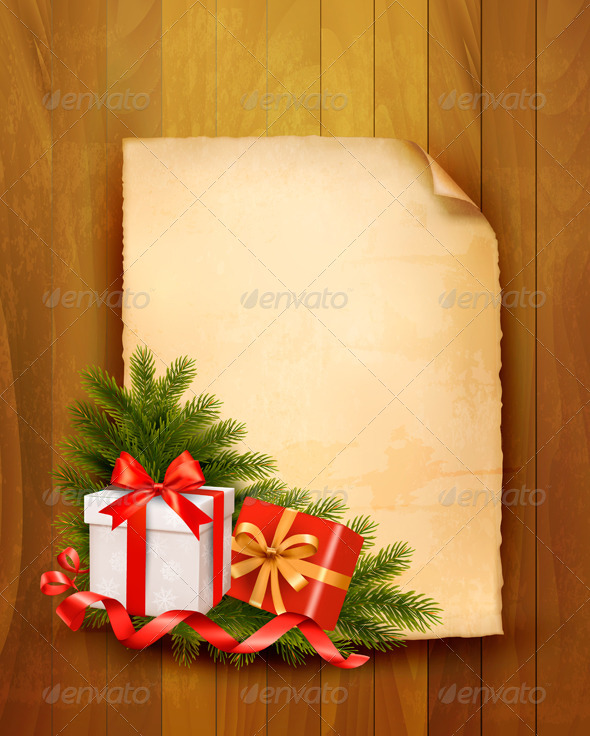 GraphicRiver Christmas Background with Red Gift Boxes 5997943