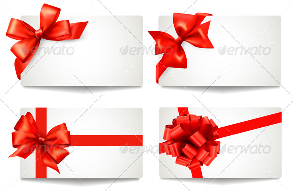 Set of Gift Cards with Red Gift Bows