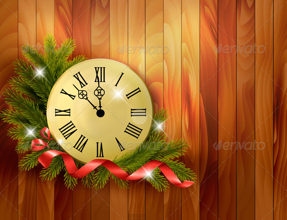 GraphicRiver Holiday Background with Tree Branches and Clock 5997947