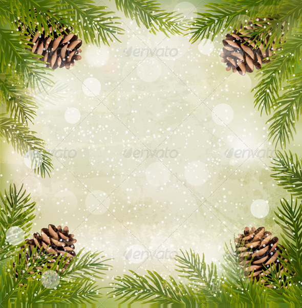 GraphicRiver Christmas Retro Background with Christmas Tree 5997956