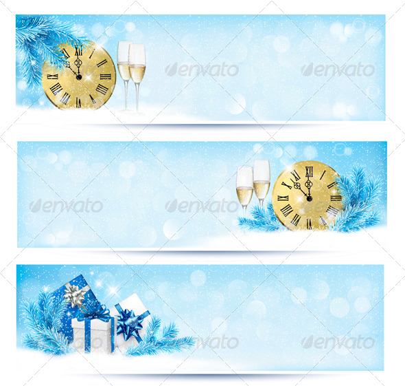 GraphicRiver Three Christmas Banners with Gift Boxes 5997961