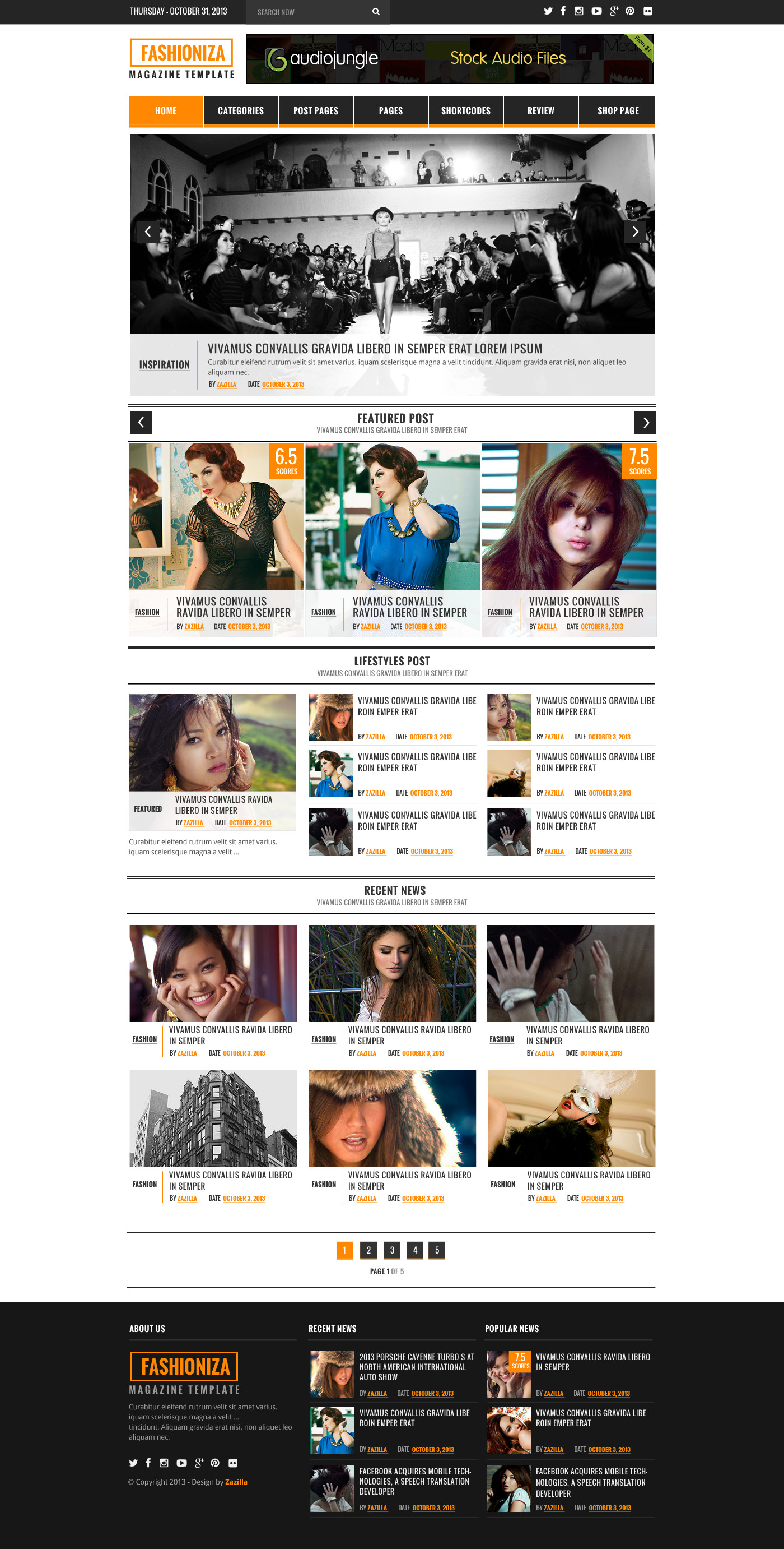 Fashioniza - Ultimate Fashion Magazine PSD