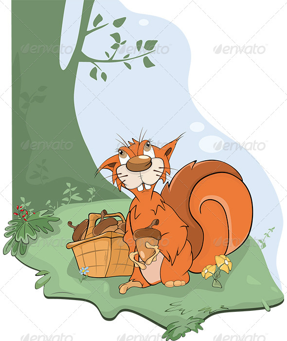 GraphicRiver The Squirrel and Acorns Cartoon 5998351