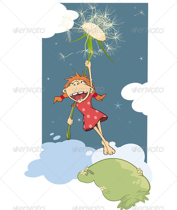 GraphicRiver The Girl and a Dandelion Cartoon 5998428