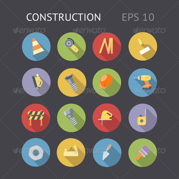 GraphicRiver Flat Icons For Construction 5999183