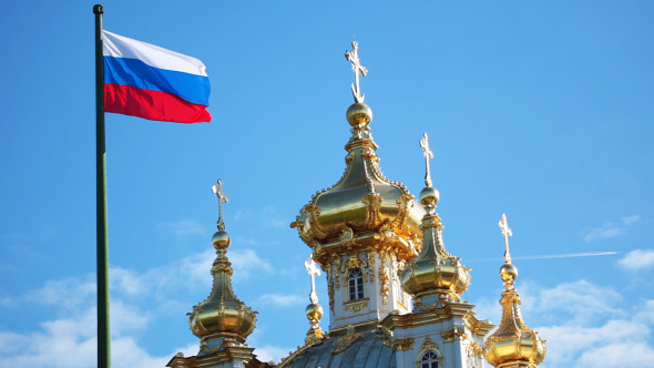 Domes Of The Church And Russian Flag