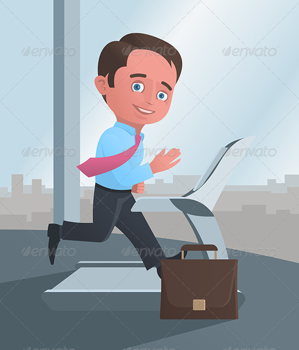 GraphicRiver Businessman Running on a Treadmill 5999432