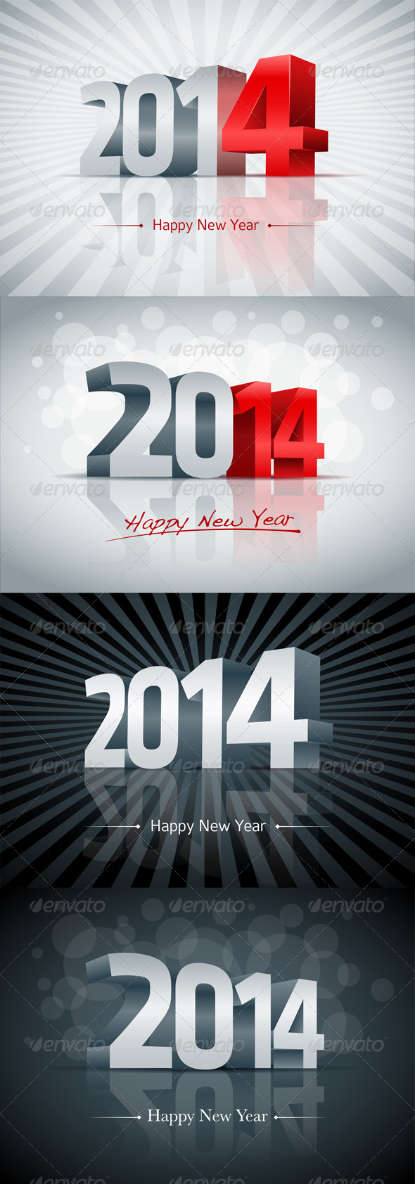Year 2014 Greeting Card Set