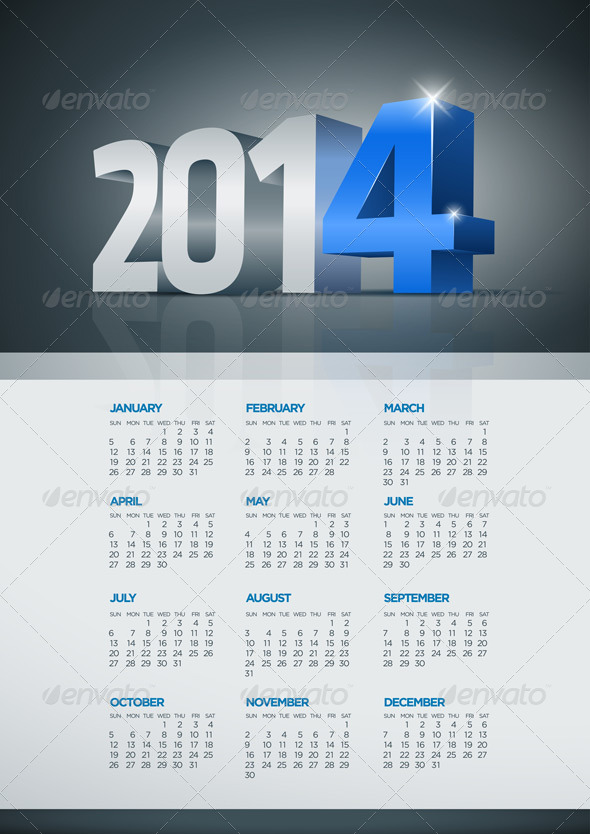 GraphicRiver Year 2014 Calendar 5999604