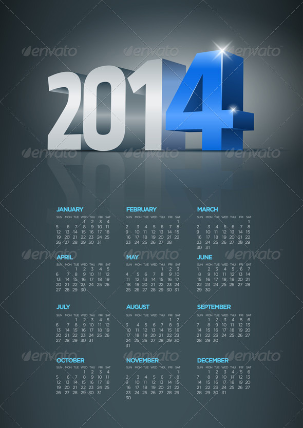 GraphicRiver Year 2014 Calendar 5999607