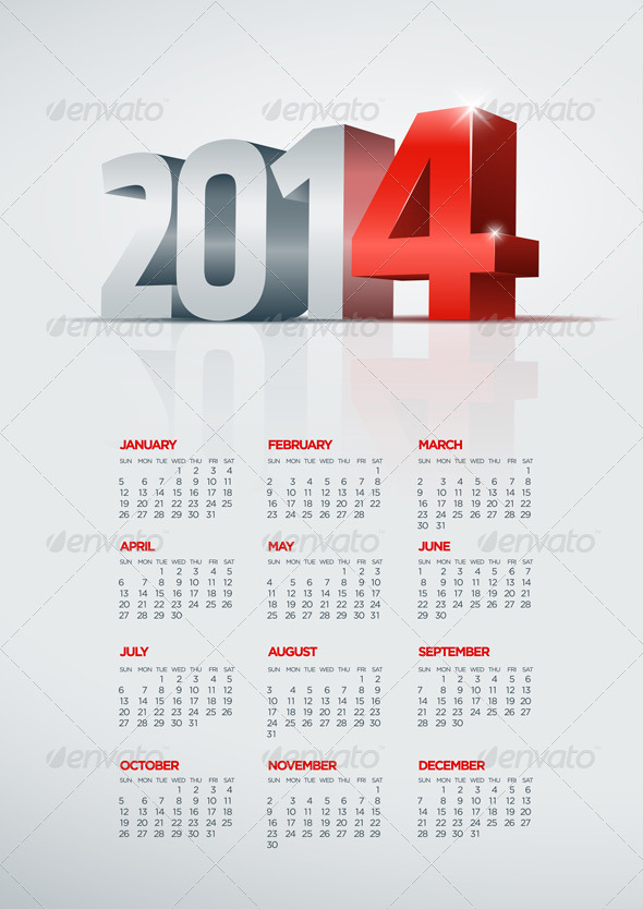 GraphicRiver Year 2014 Calendar 5999614