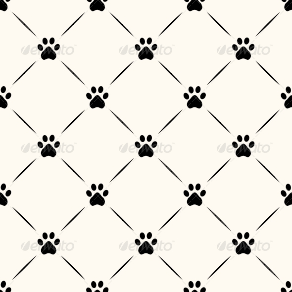 GraphicRiver Seamless Animal Pattern of Paw Footprint 5999634