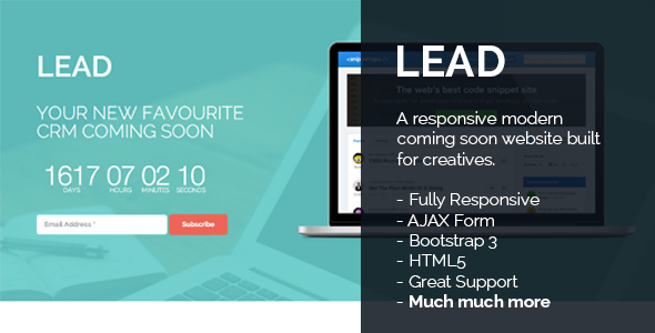 Lead - Responsive Countdown Clock Landing Page
