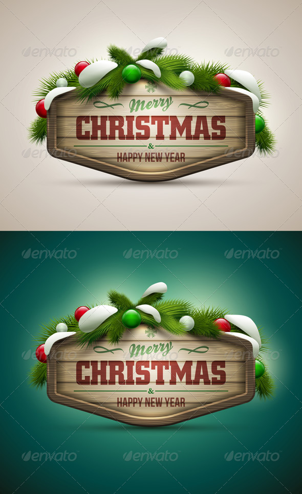 GraphicRiver Wooden Christmas Message Board 5999826