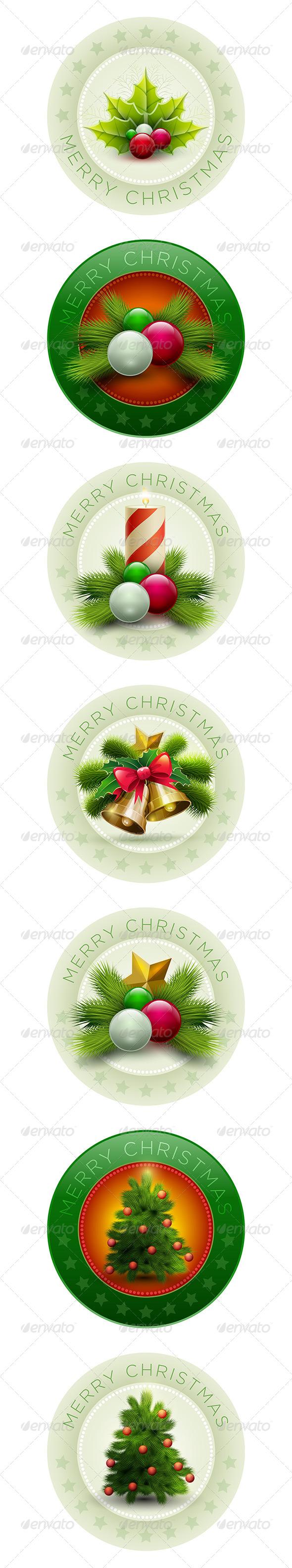 GraphicRiver Christmas Badge Collection 5999869