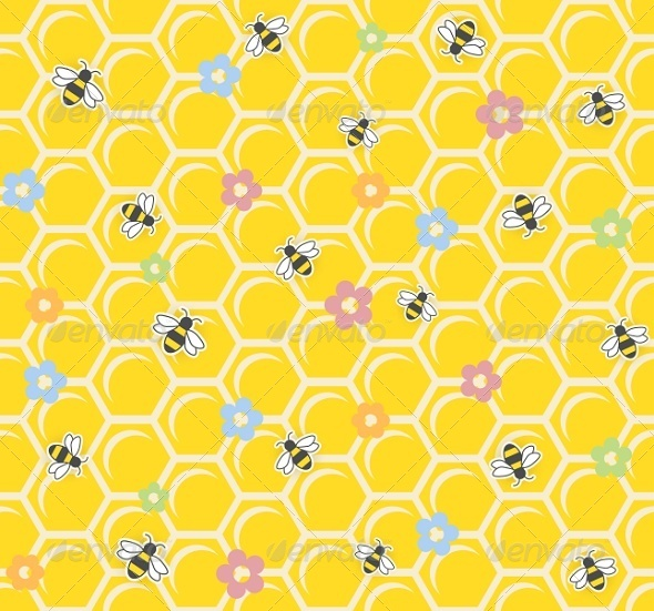 GraphicRiver Bee on Honeycomb Seamless Pattern 5999875